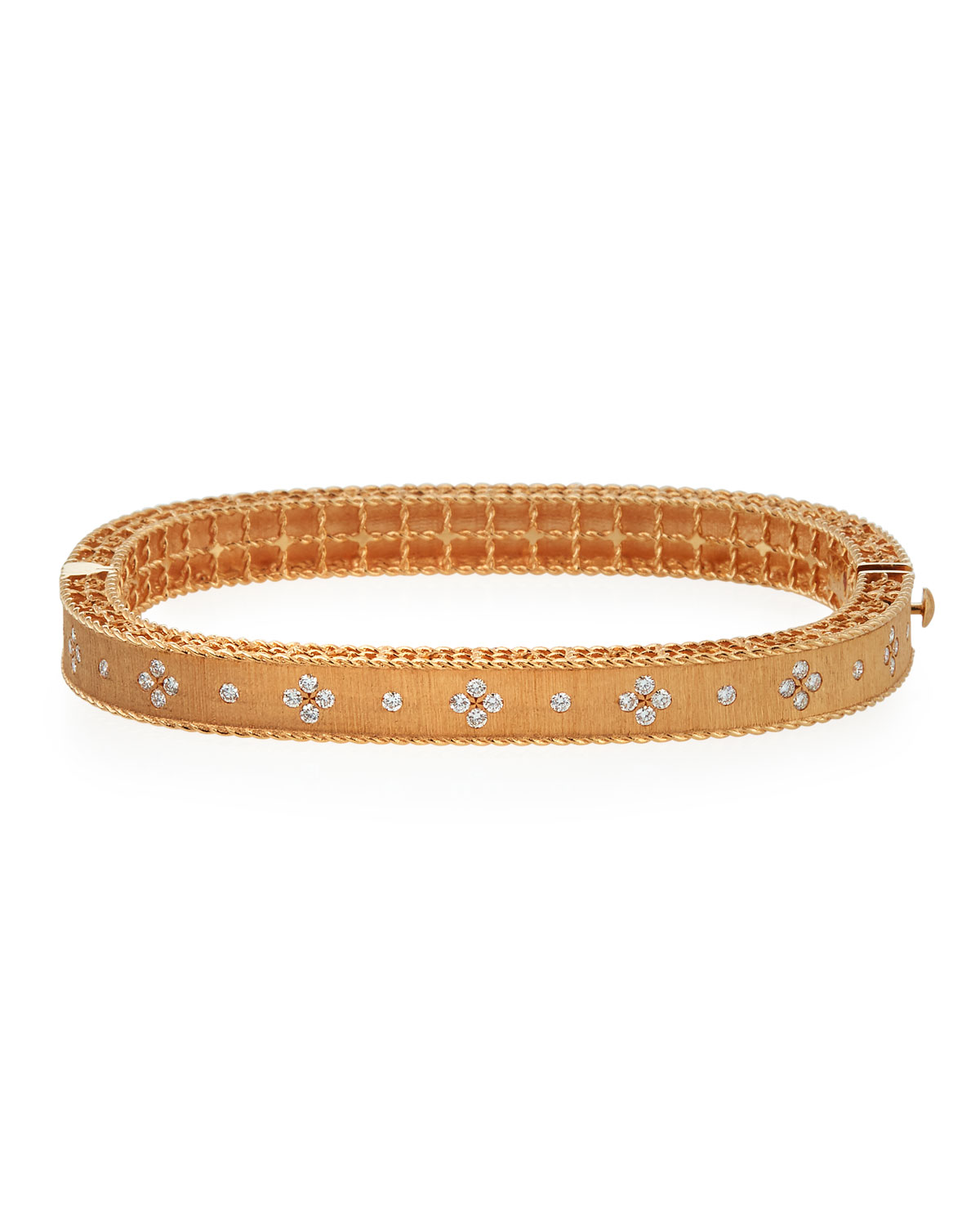 Roberto Coin 18K Rose Gold .48cts  Diamonds Gold Bangle with Stones 7771211AXBAX