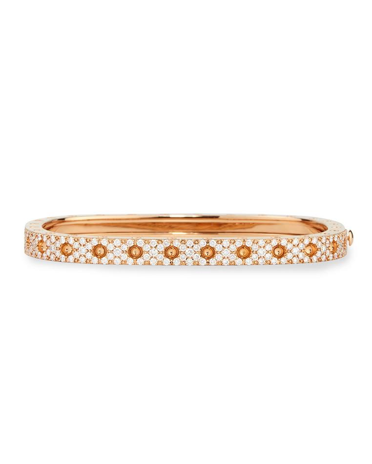 Roberto Coin 18K Rose Gold 1.29cts  Diamond Gold Bangle with Stones 888691AHBAXS