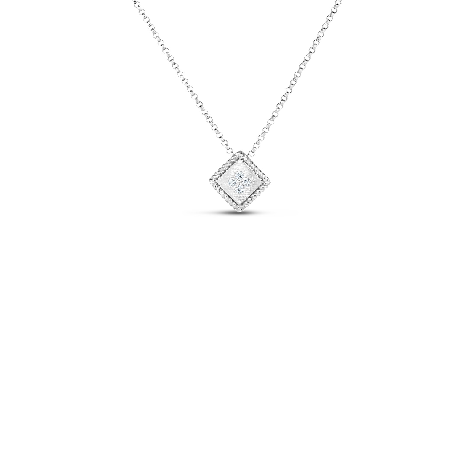 Roberto Coin 18K White Gold .04cts  Diamond Gold Necklace with Stones 7772873AWCHX