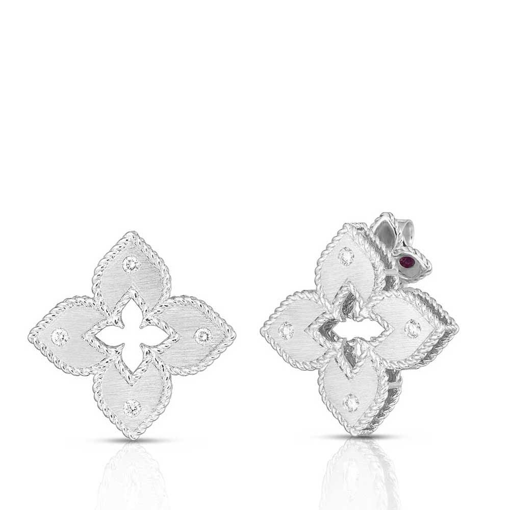 Roberto Coin 18K White Gold .05cts  Diamonds Gold Earrings with Stones 7772985AWERX