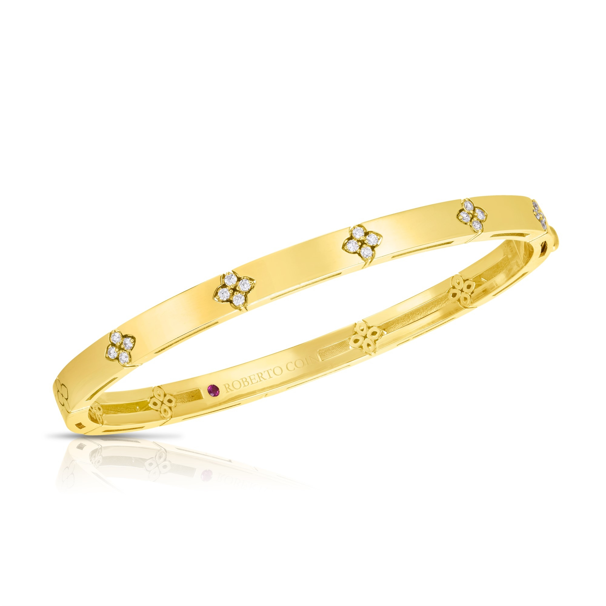 Roberto Coin 18K Yellow Gold .15cts  Diamonds Gold Bangle with Stones 8882970AYBAX