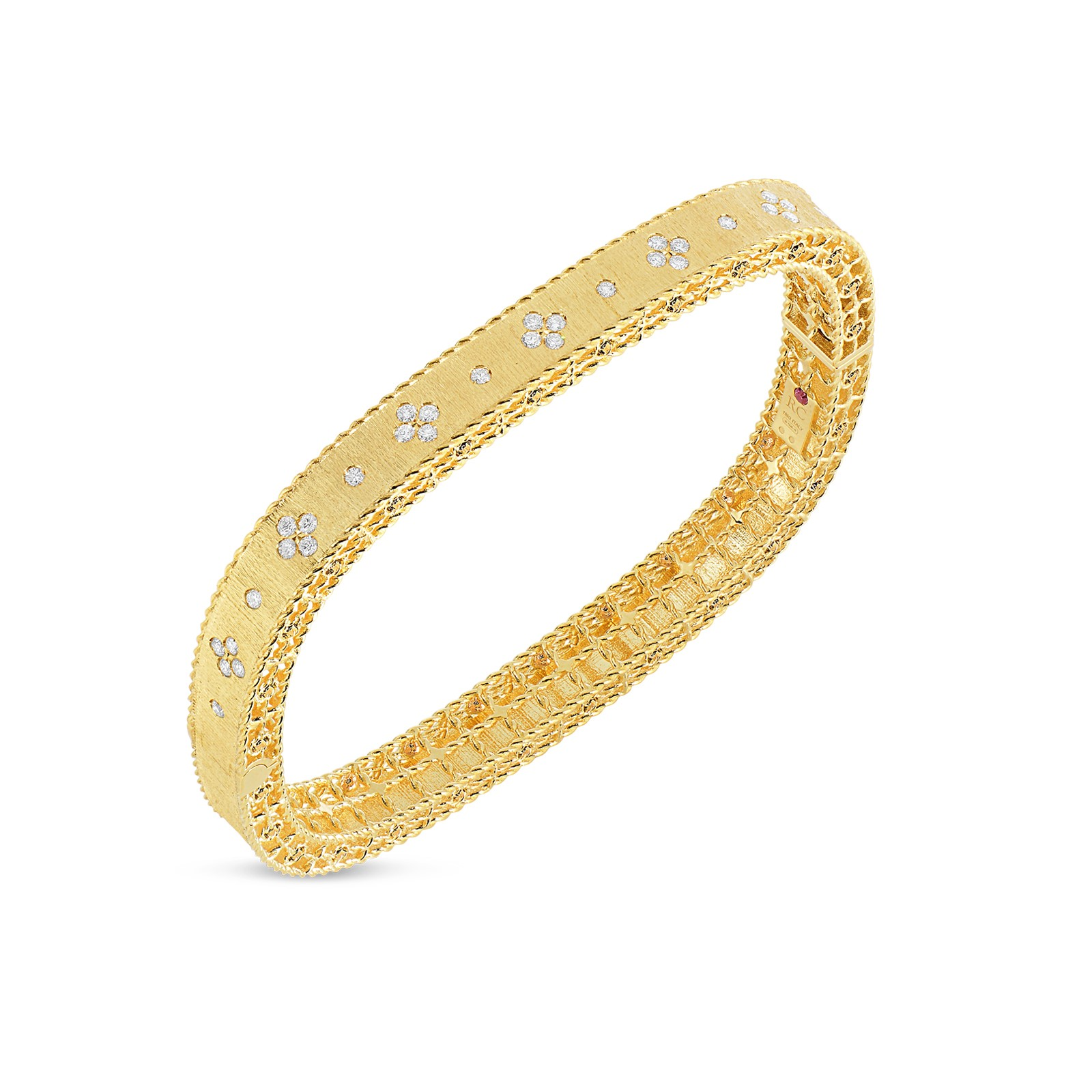 Roberto Coin 18K Yellow Gold .48cts  Diamonds Gold Bangle with Stones 7771211AYBAX