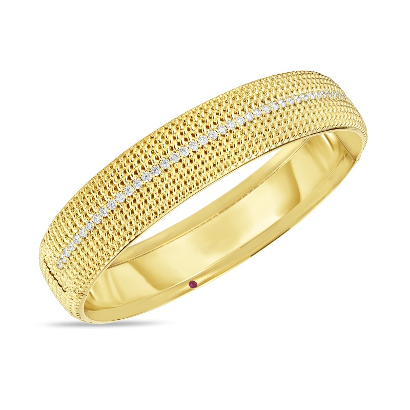 Roberto Coin 18K Yellow Gold .85cts  Diamonds Gold Bangle with Stones 7772780AYBAX