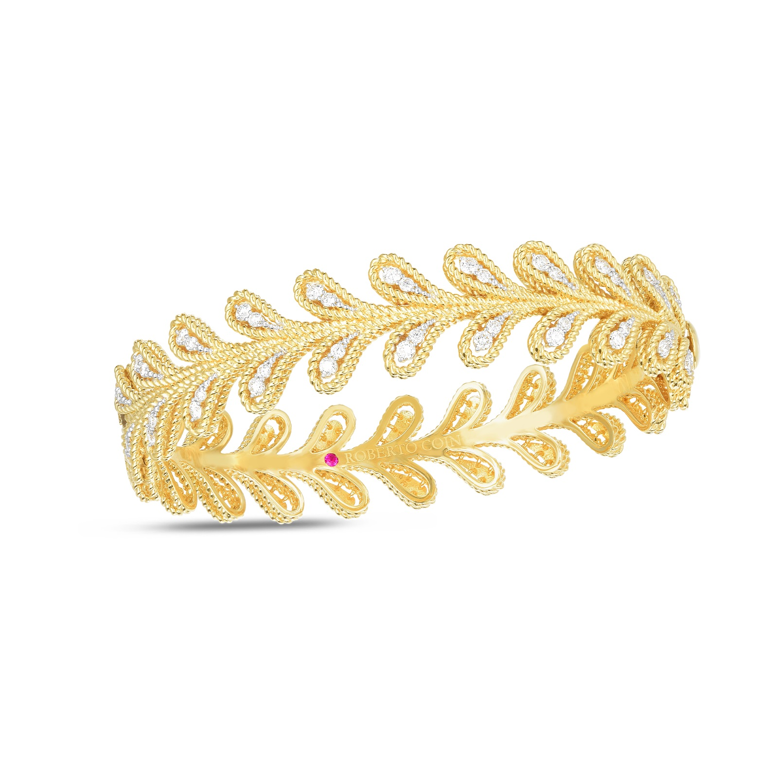 Roberto Coin 18K Yellow Gold .94cts  Diamonds Gold Bangle with Stones 7772809AJBAX