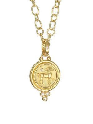 Temple St. Clair 18K Yellow Gold .16cts  Diamonds Gold Pendants / Charms P31862-SMHORSE