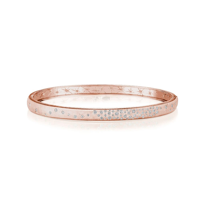 Penny Preville 18K Rose Gold .47cts  Diamonds Gold Bangle with Stones B7757R