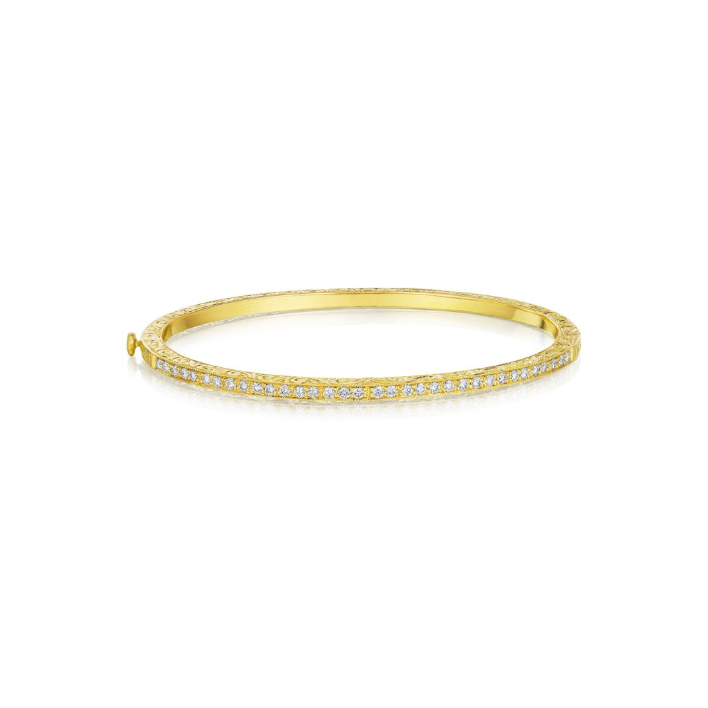 Penny Preville 18K Yellow Gold .68cts  Diamonds Gold Bangle with Stones B7262G