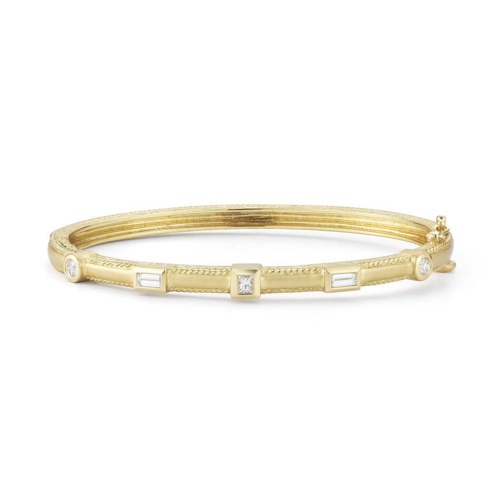 Penny Preville 18K Yellow Gold .85cts  Diamond Gold Bangle with Stones B3056G