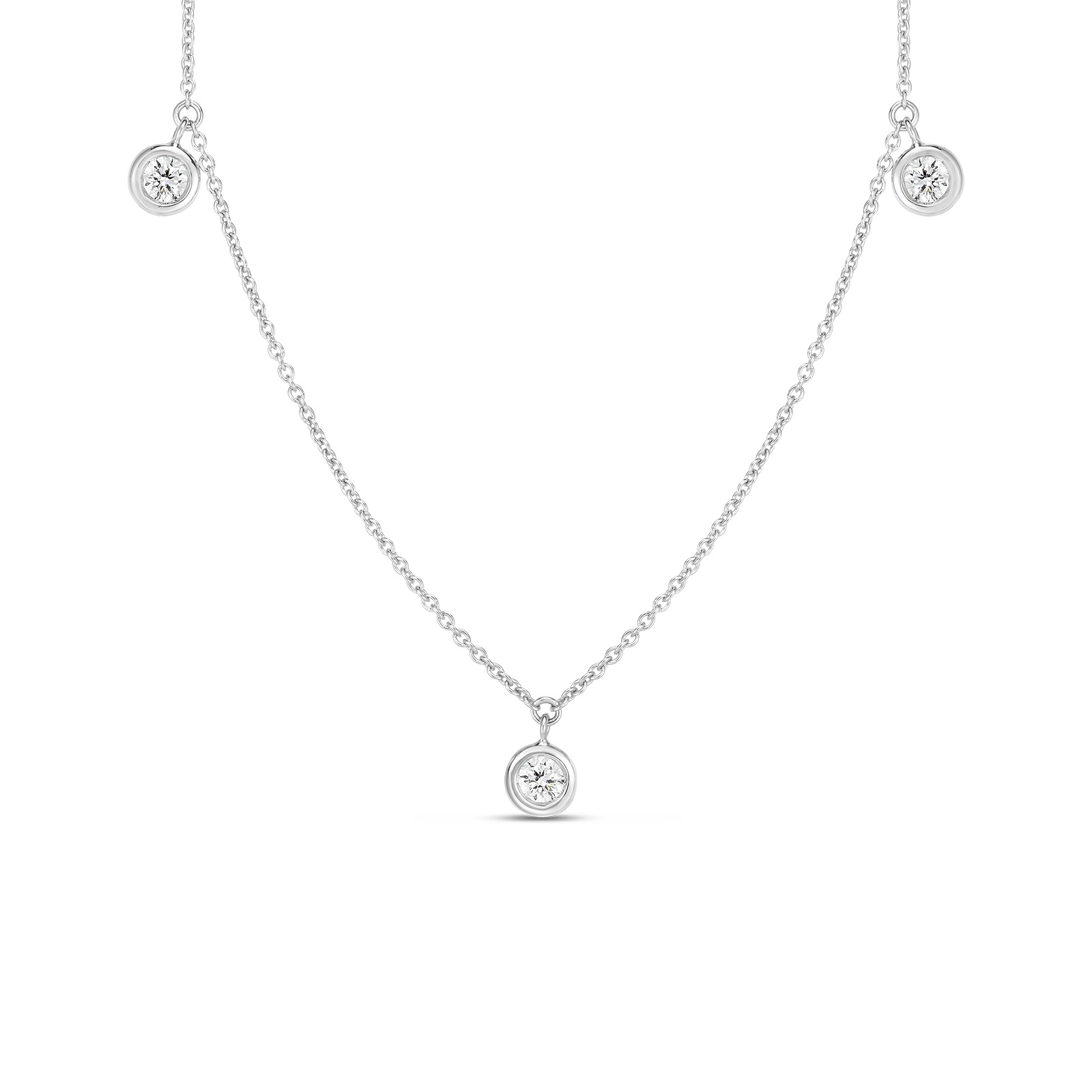 Roberto Coin 18K White Gold .13cts  Diamonds Gold Necklace with Stones 530010AWCHX0