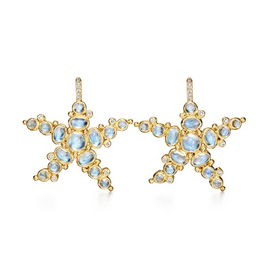 Temple St. Clair 18K Yellow Gold .18cts  Diamonds Gold Earrings with Stones E34111-STRBM