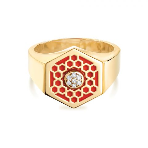 Birks 18K Yellow Gold .04cts  Diamonds Gold Ring with Stones 450013520116-7