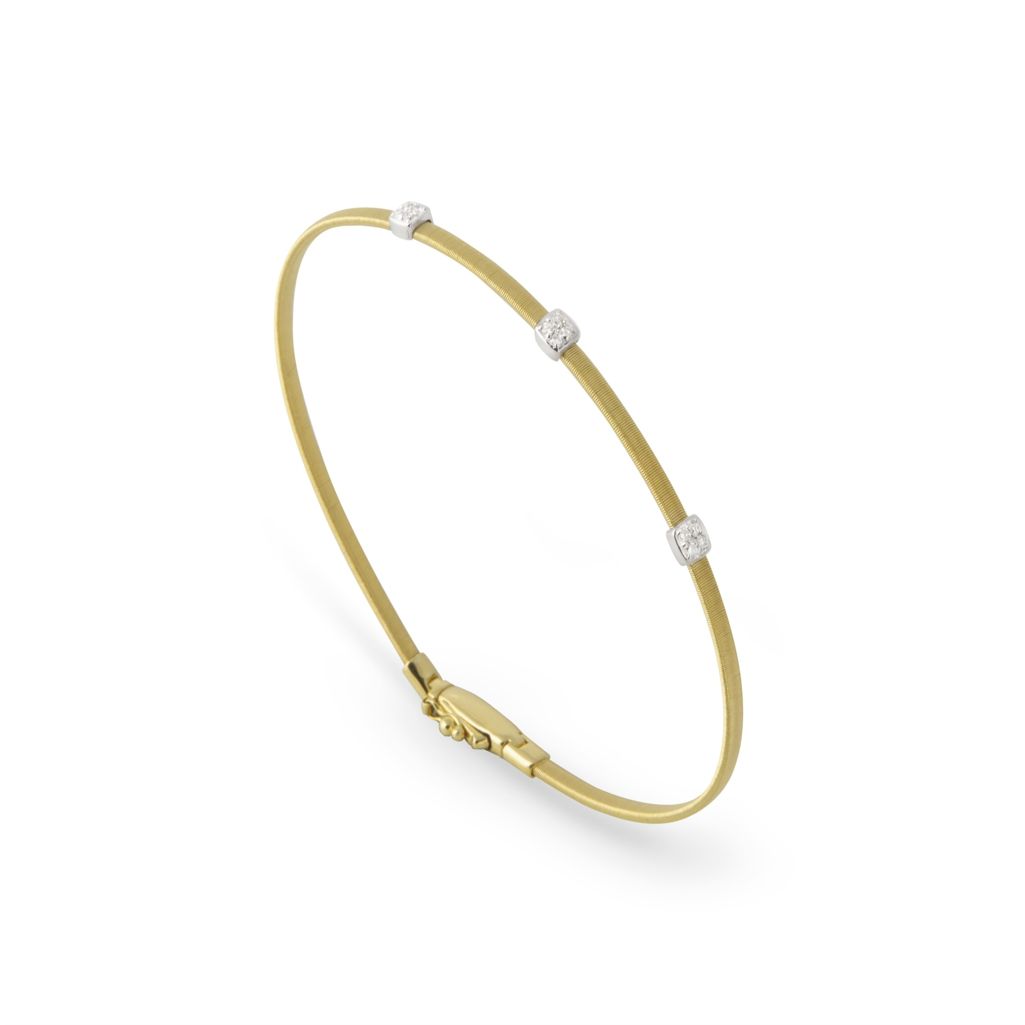 Marco Bicego 18K Yellow and White Gold .09cts  Diamonds Gold Bangle with Stones BG730-B1 YW