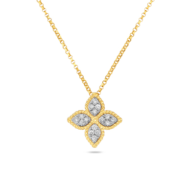Roberto Coin 18K Yellow Gold .17cts  Diamonds Gold Necklace with Stones 7771371AJCHX