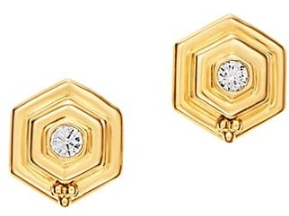 Temple St. Clair 18K Yellow Gold .12cts  Diamond Gold Earrings with Stones E31879-HIVE