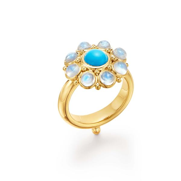 Temple St. Clair 18K Yellow Gold   Turquoise Gold Ring with Stones R14825-STELTQBM