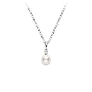 Mikimoto 18K White Gold .03cts  Diamonds Pearl Necklace PPS602DW