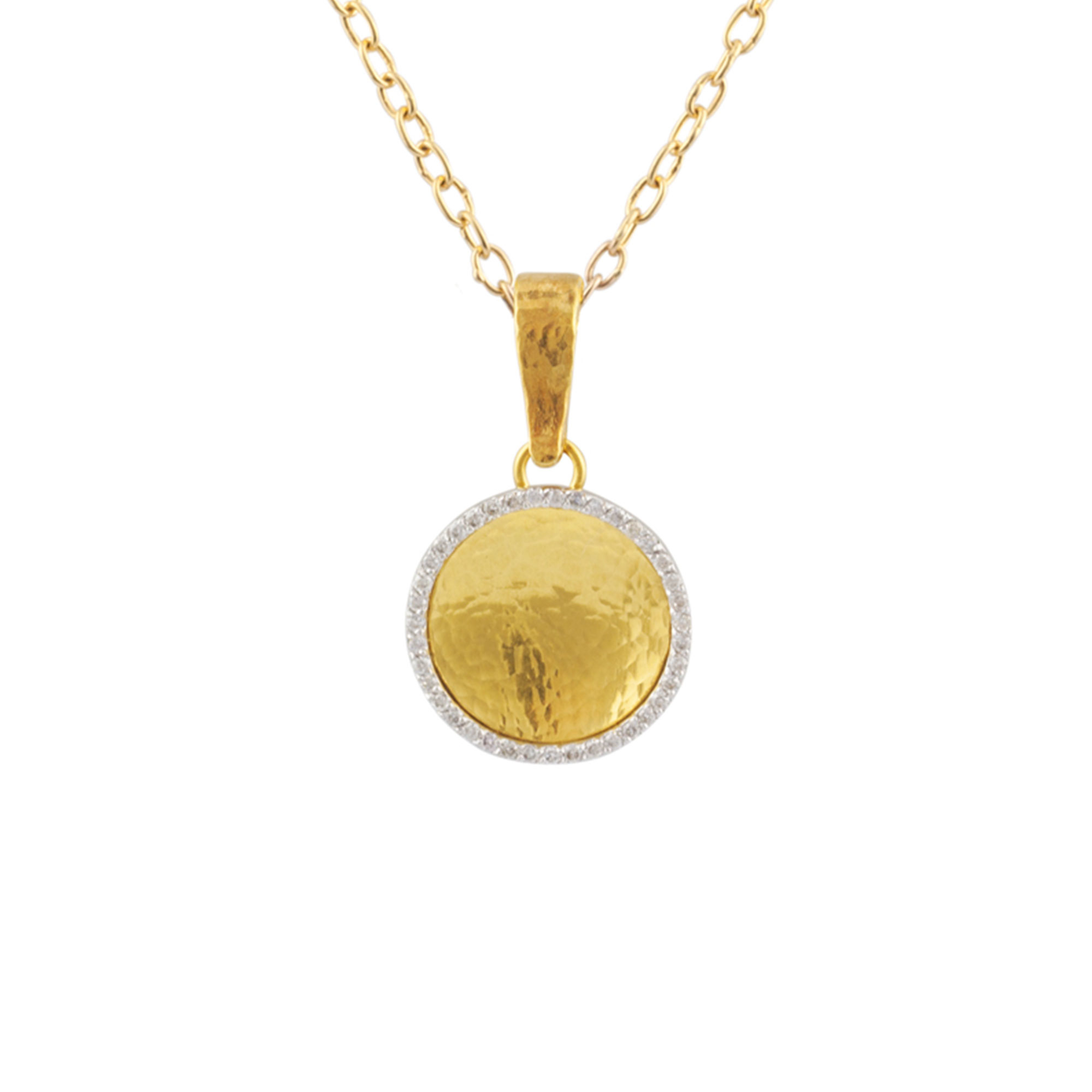 Gurhan 18-22-24K Yellow Gold .16cts White Diamond Gold Necklace with Stones CHN-16MM-STB-DI-18