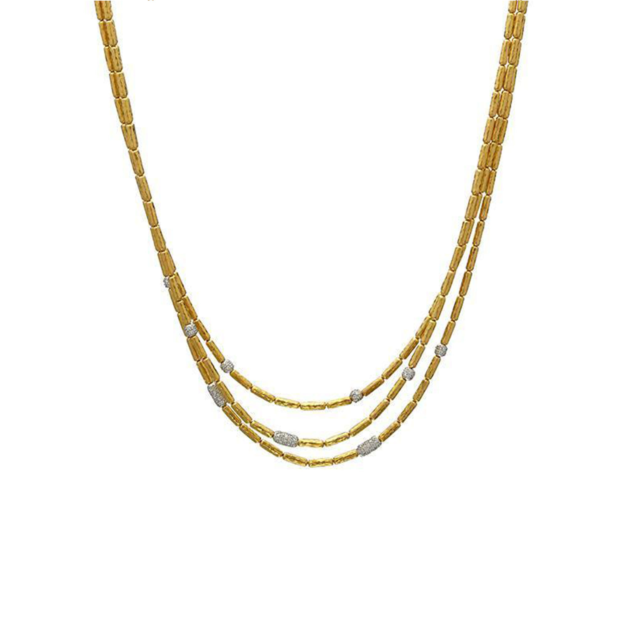 Gurhan 18-22-24K Yellow Gold 1.51cts White Diamond Gold Necklace with Stones NVN3-VPDI-9DIMX-GT18