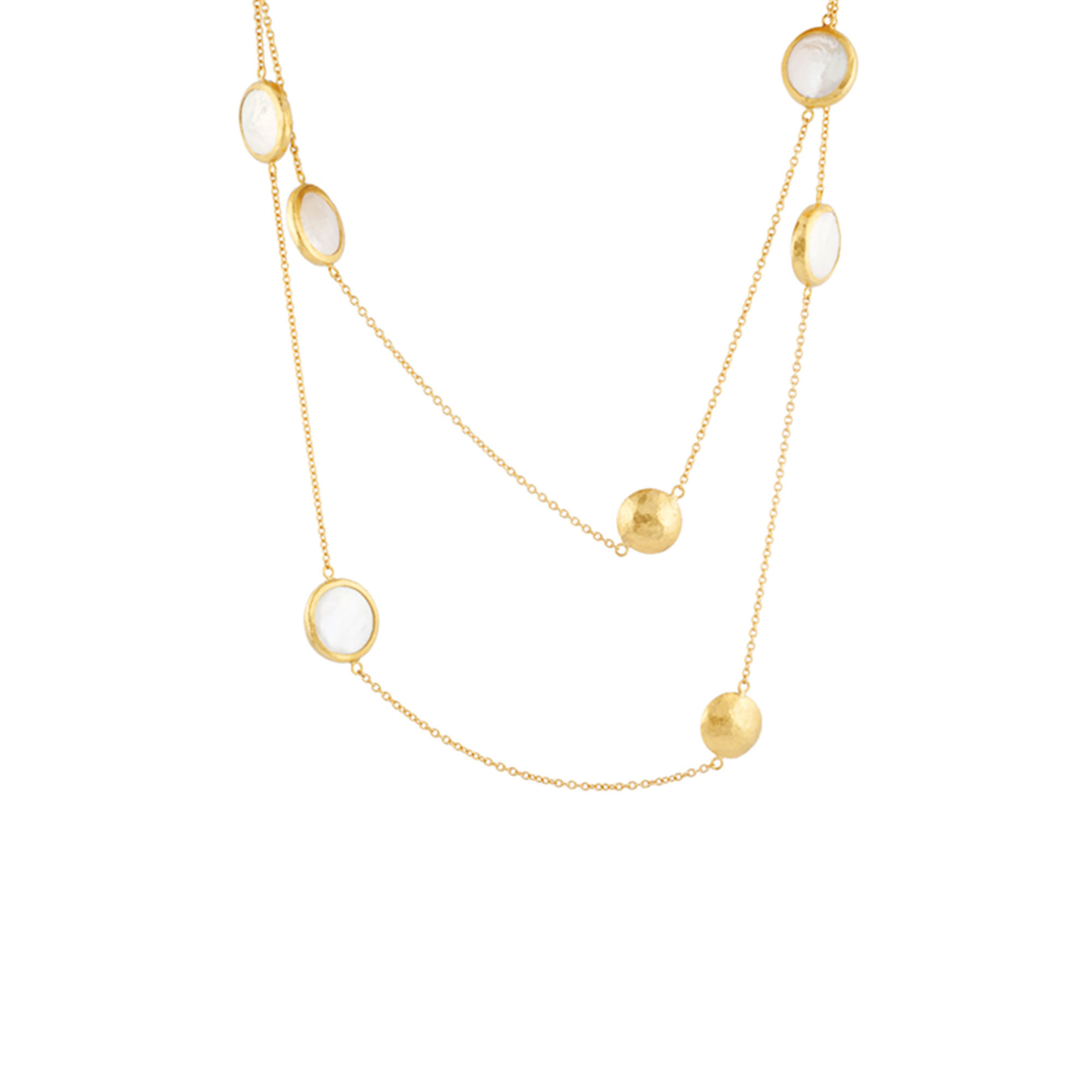Gurhan 18-22-24K Yellow Gold 8 X 13 mm White Pearl Gold Necklace with Stones CHN-8BWP-2LT-FR-36