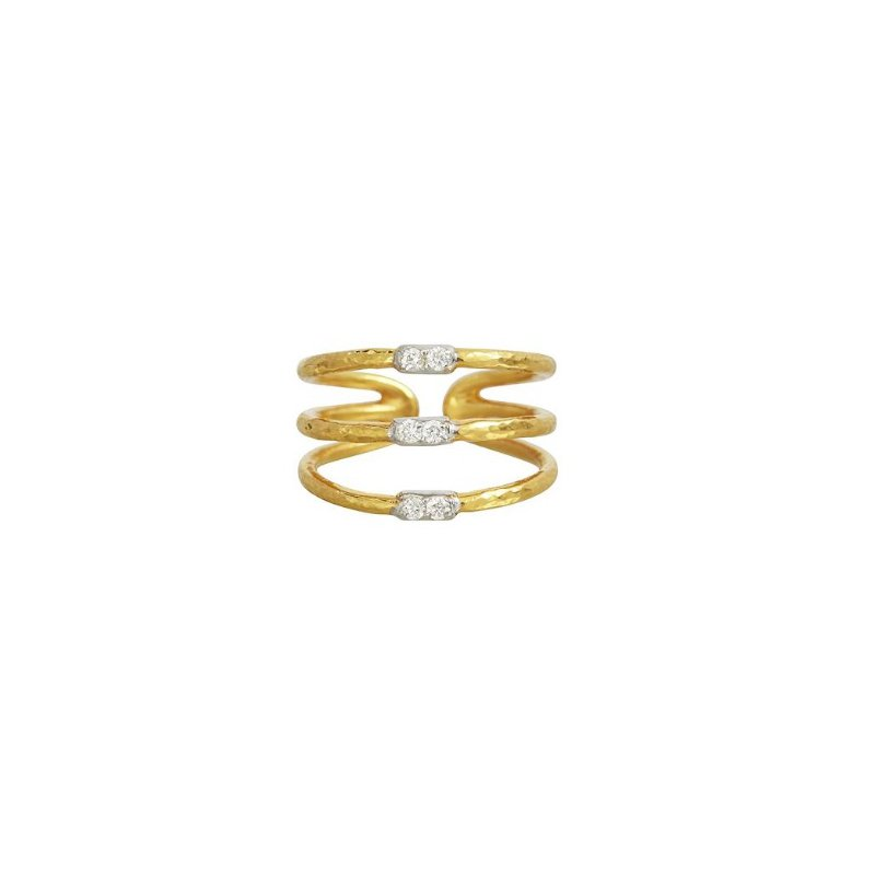 Gurhan 18-22K Yellow Gold .144cts White Diamond Gold Ring with Stones R170-3-3VP2DI