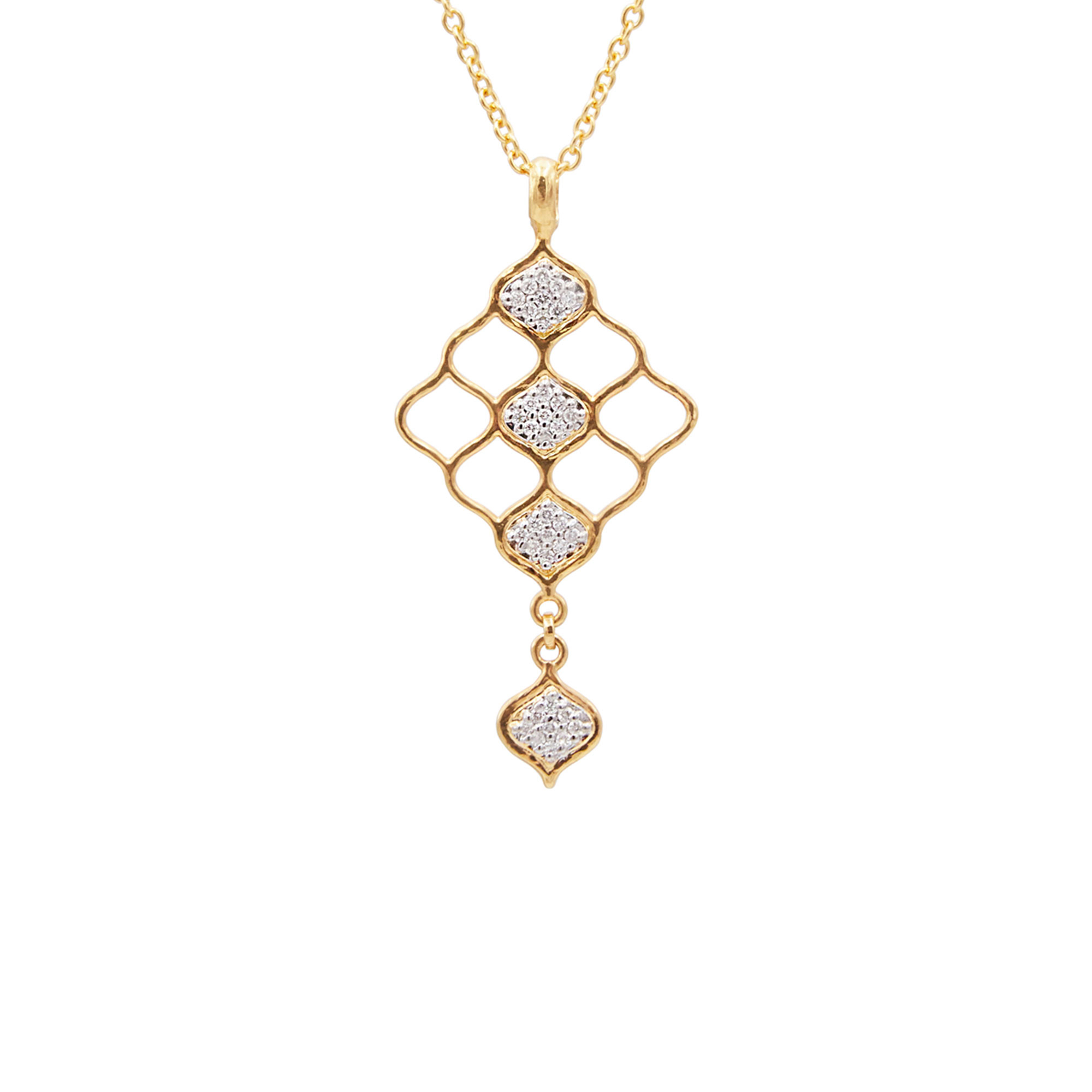 Gurhan 18-22K Yellow Gold .252cts White Diamond Gold Necklace with Stones GUN-YG-DI-7635-18