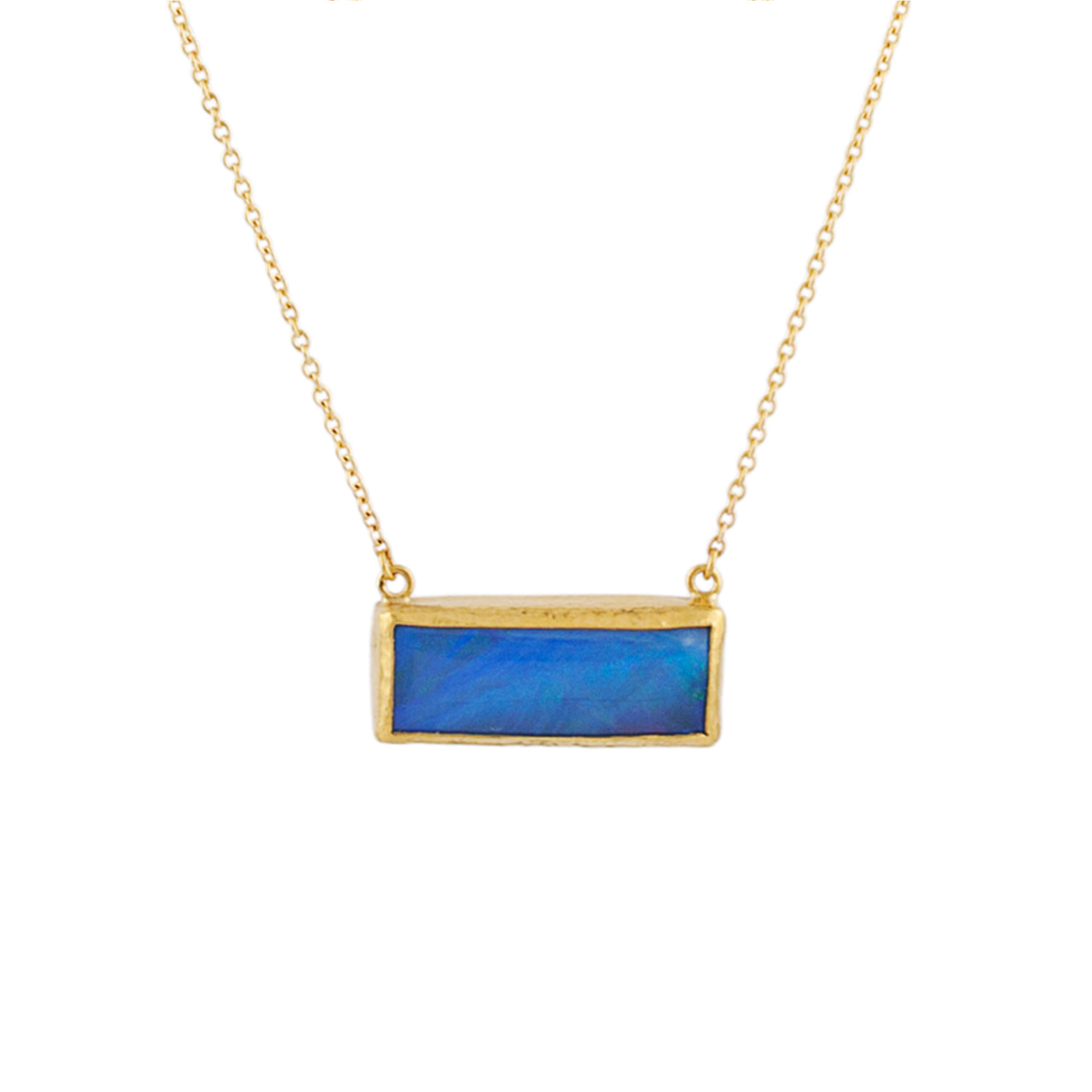 Gurhan 22-24K Yellow Gold 20x8mm Blue Opal Gold Necklace with Stones N-U21110-OP