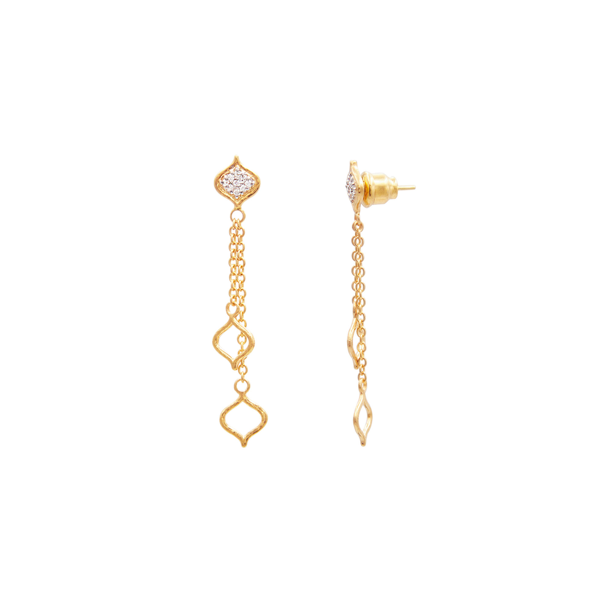 Gurhan 22K Yellow Gold 0.126cts White Diamond Gold Earrings with Stones GUE-YG-DI-7625-OS