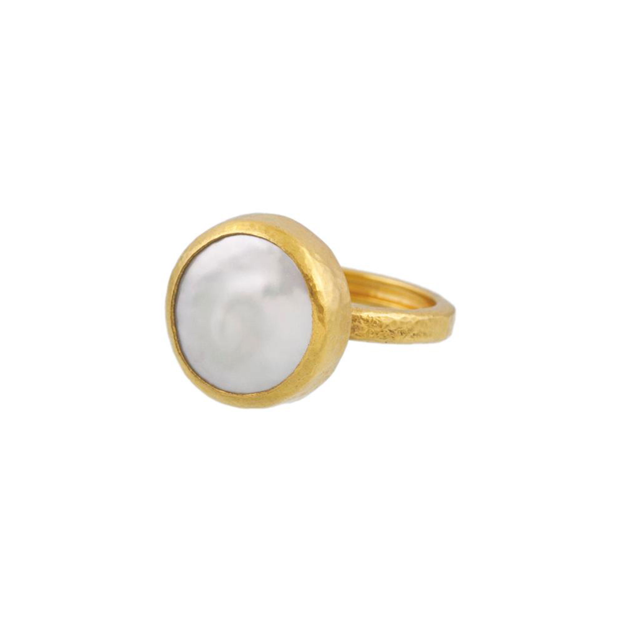 Gurhan 24-22K Yellow Gold 13mm White Pearl Gold Ring with Stones R-LE-BWP-FR