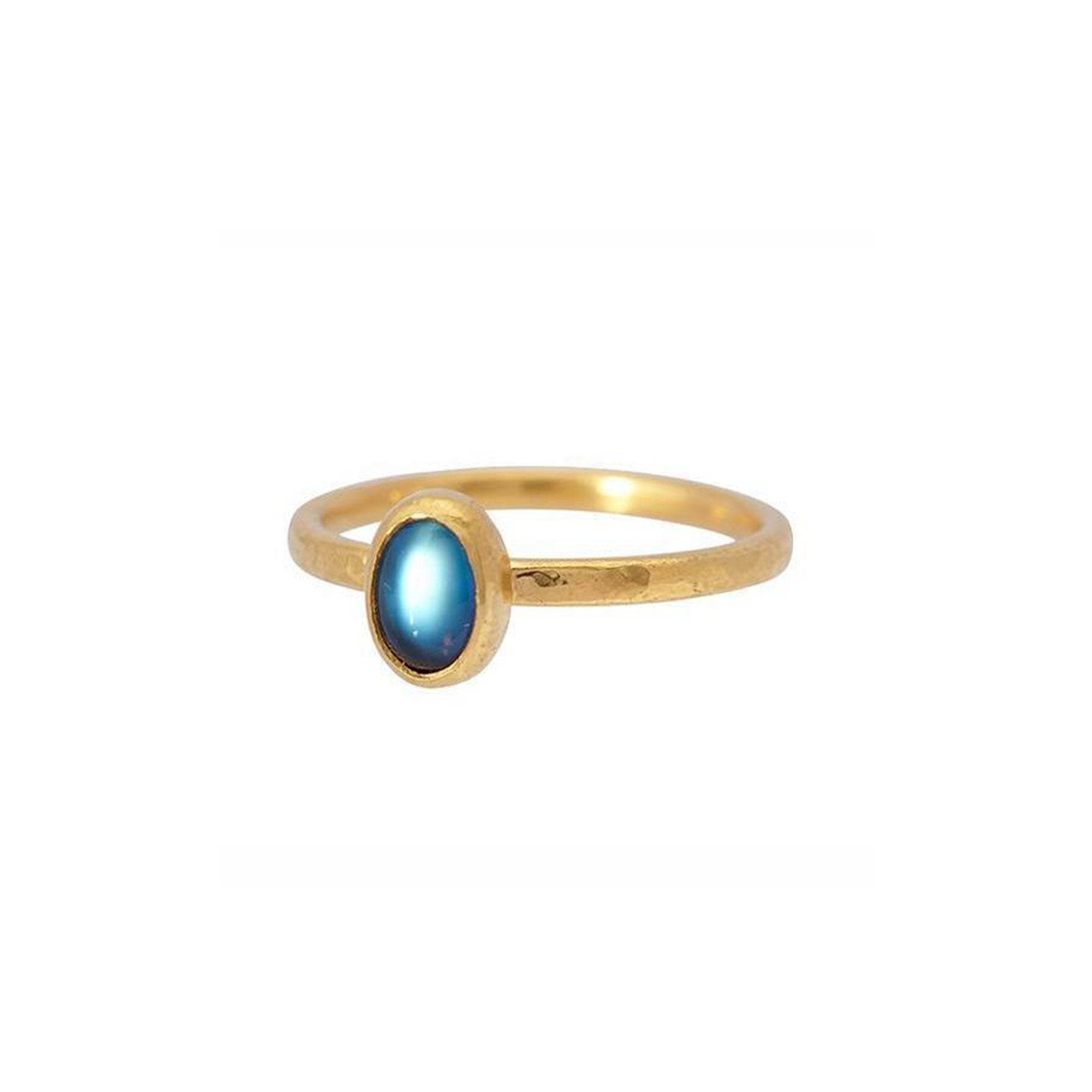 Gurhan 24K Yellow Gold .45cts Blue Moonstone Gold Ring with Stones R-U24429-MNS