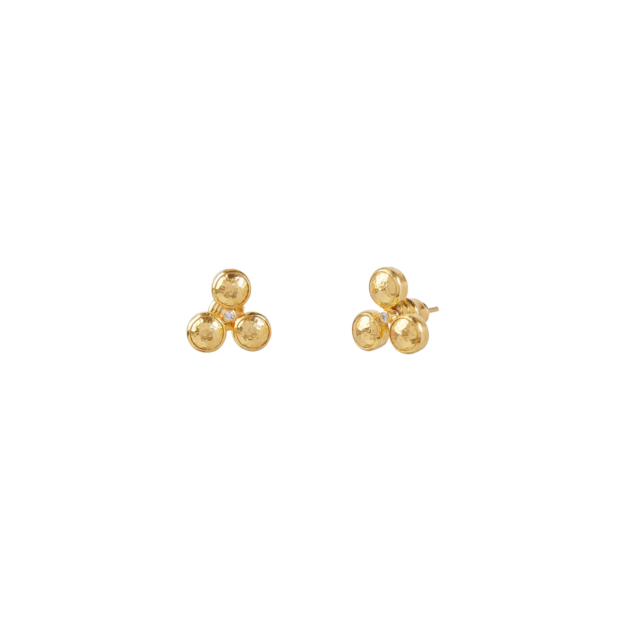 Gurhan 24K Yellow Gold 0.036cts  Diamond Gold Earrings with Stones GUE-YG-DIOS-2534