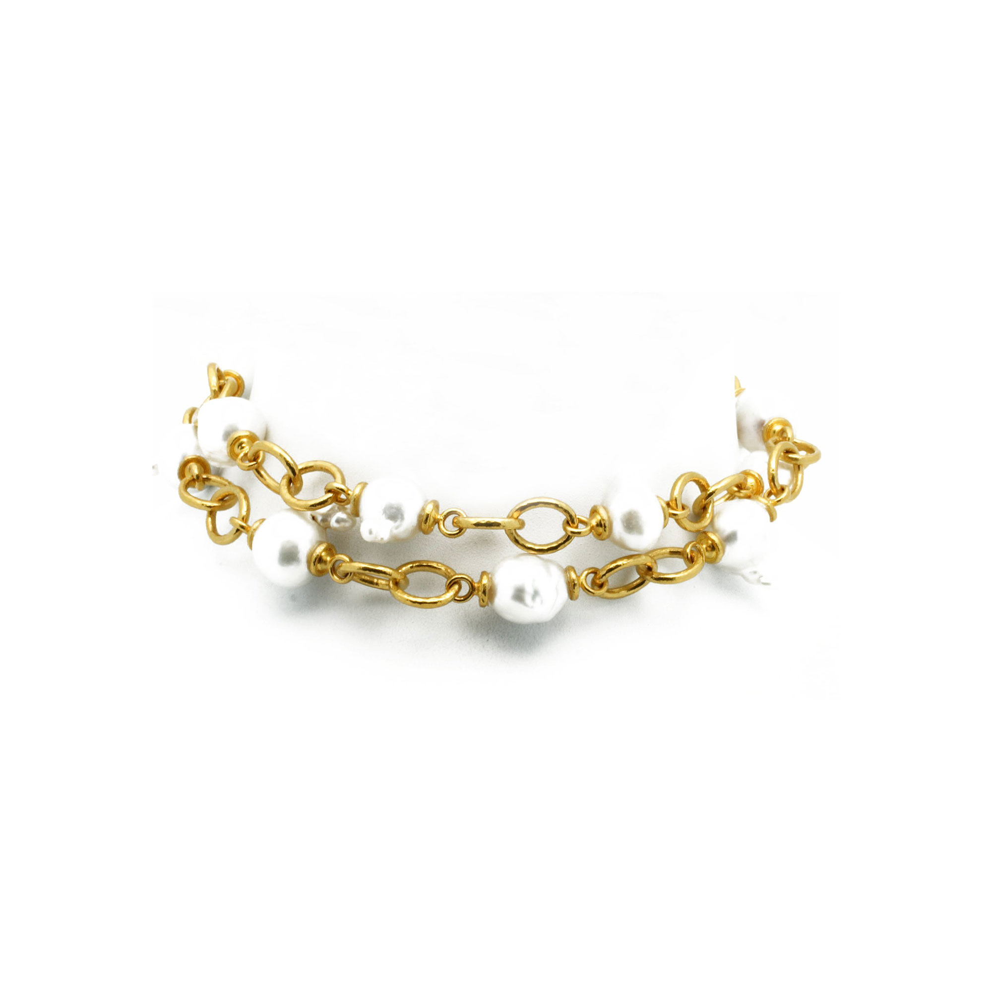 Gurhan 24K Yellow Gold #13 White Pearl Gold Necklace with Stones N220-LE-16SSP13