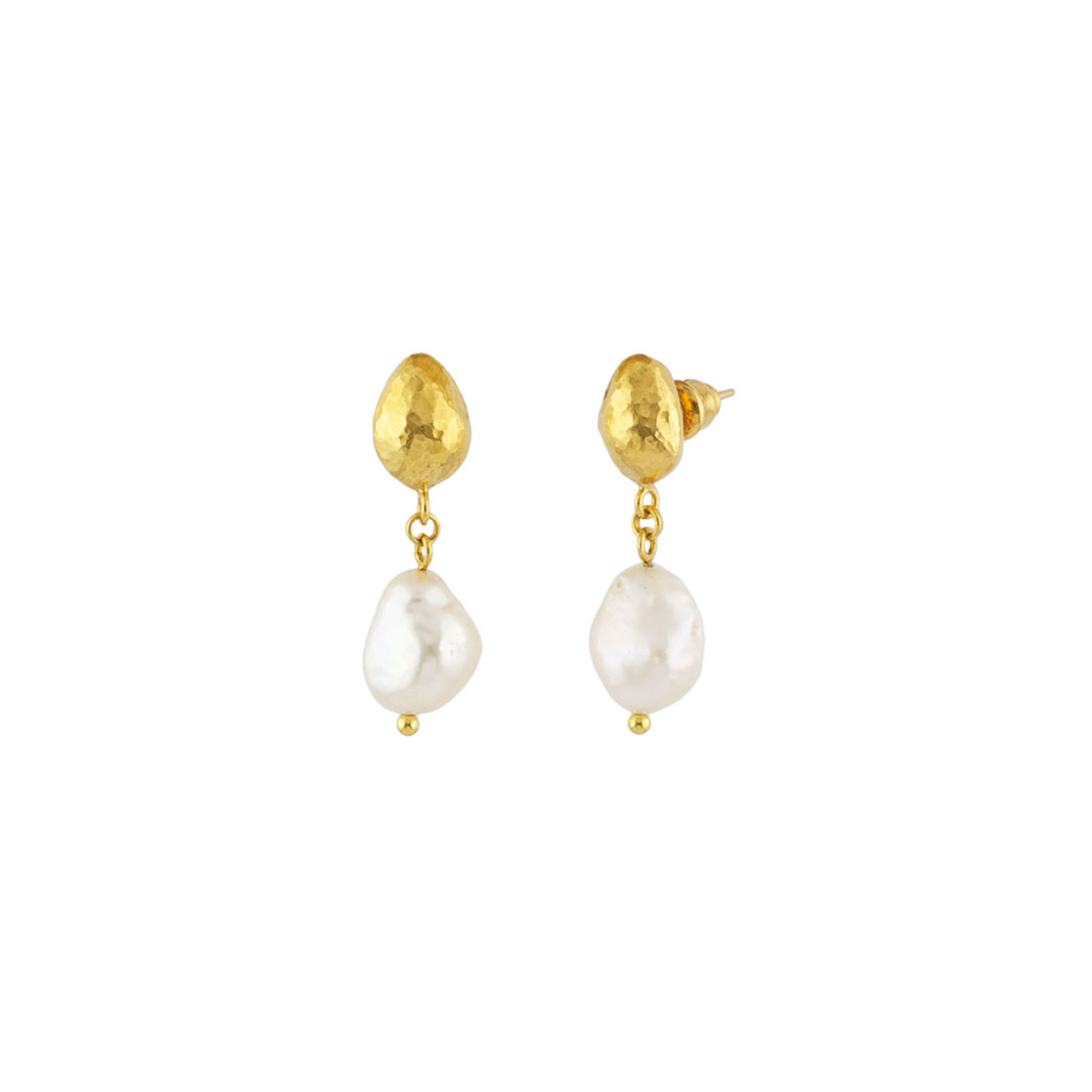 Gurhan 24K Yellow Gold  White Fresh Water Pearl Gold Earrings with Stones E-U22092-FWP