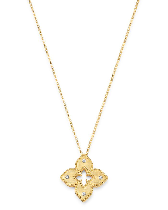 Roberto Coin 18K Rose Gold .02cts  Diamonds Gold Necklace with Stones 7772985AXCHX