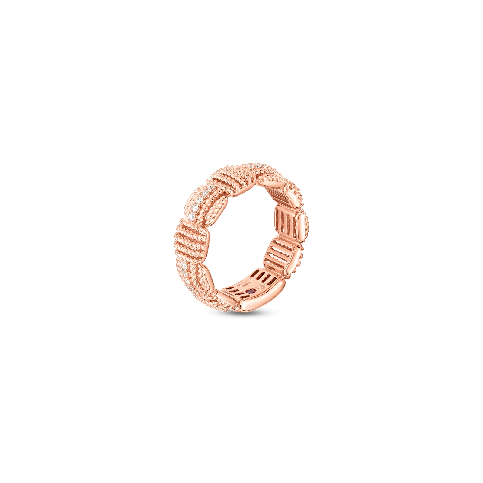 Roberto Coin 18K Rose Gold .16cts  Diamonds Gold Ring with Stones 7772894AX65X