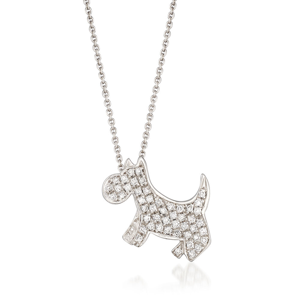 Roberto Coin 18K White Gold .21cts White Diamonds Gold Necklace with Stones 000320AWCHX0