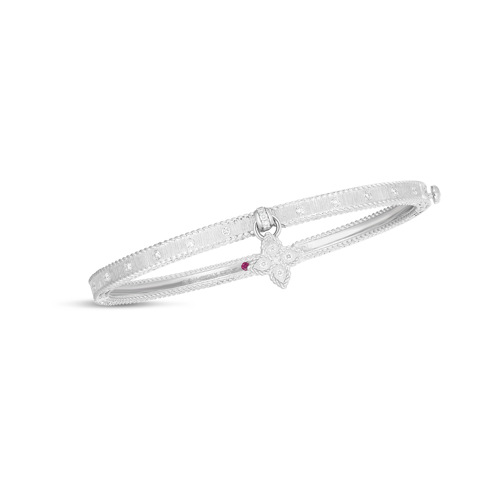 Roberto Coin 18K White Gold .28cts  Diamonds Gold Bangle with Stones 7772897AWBAX