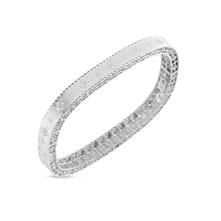 Roberto Coin 18K White Gold .48cts  Diamonds Gold Bangle with Stones 7771211AWBAX
