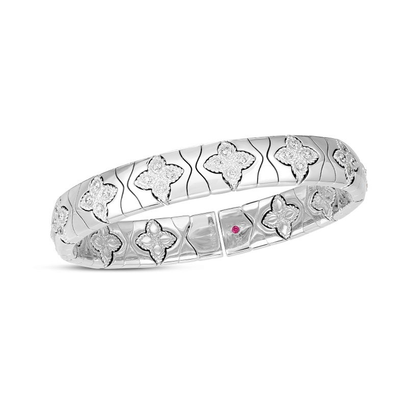 Roberto Coin 18K White Gold 1.26cts  Diamonds Gold Bangle with Stones 7772913AWBAX