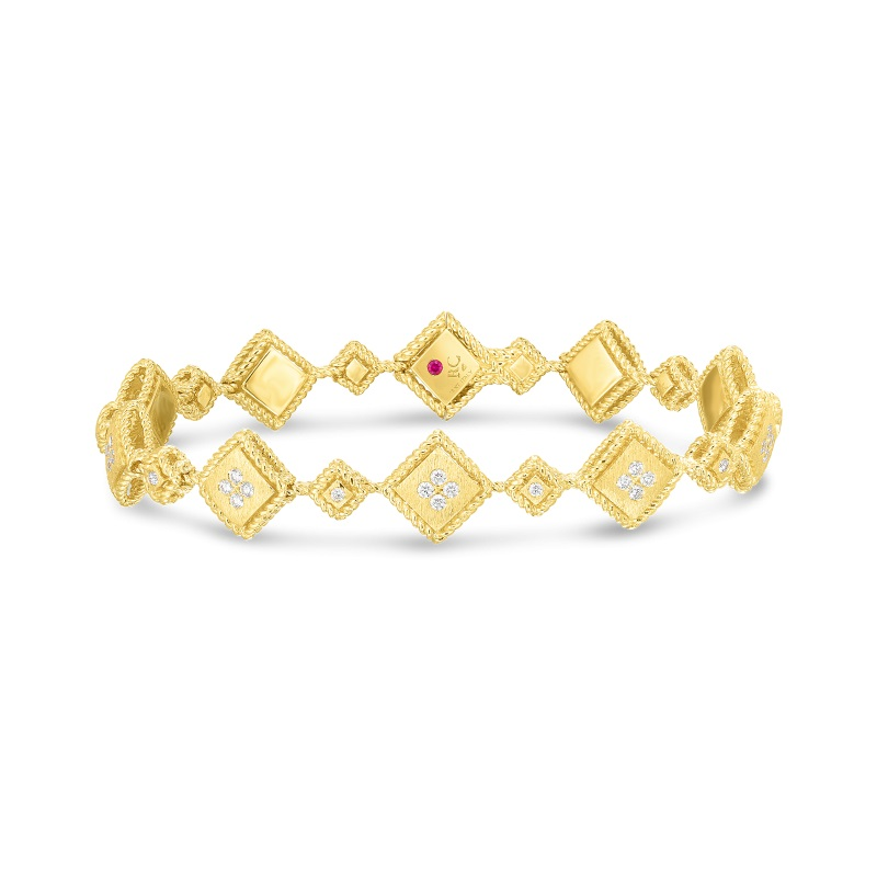 Roberto Coin 18K Yellow Gold .58cts  Diamonds Gold Bangle with Stones 7772791AYLBX