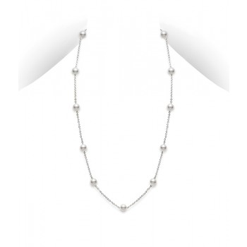 Mikimoto 18K White Gold   Akoya Pearls Pearl Necklace PCQ 158L W