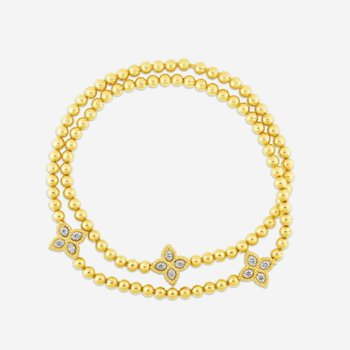 Roberto Coin 18K Yellow Gold .11cts  Diamonds Gold Necklace with Stones 7773053AJLBX