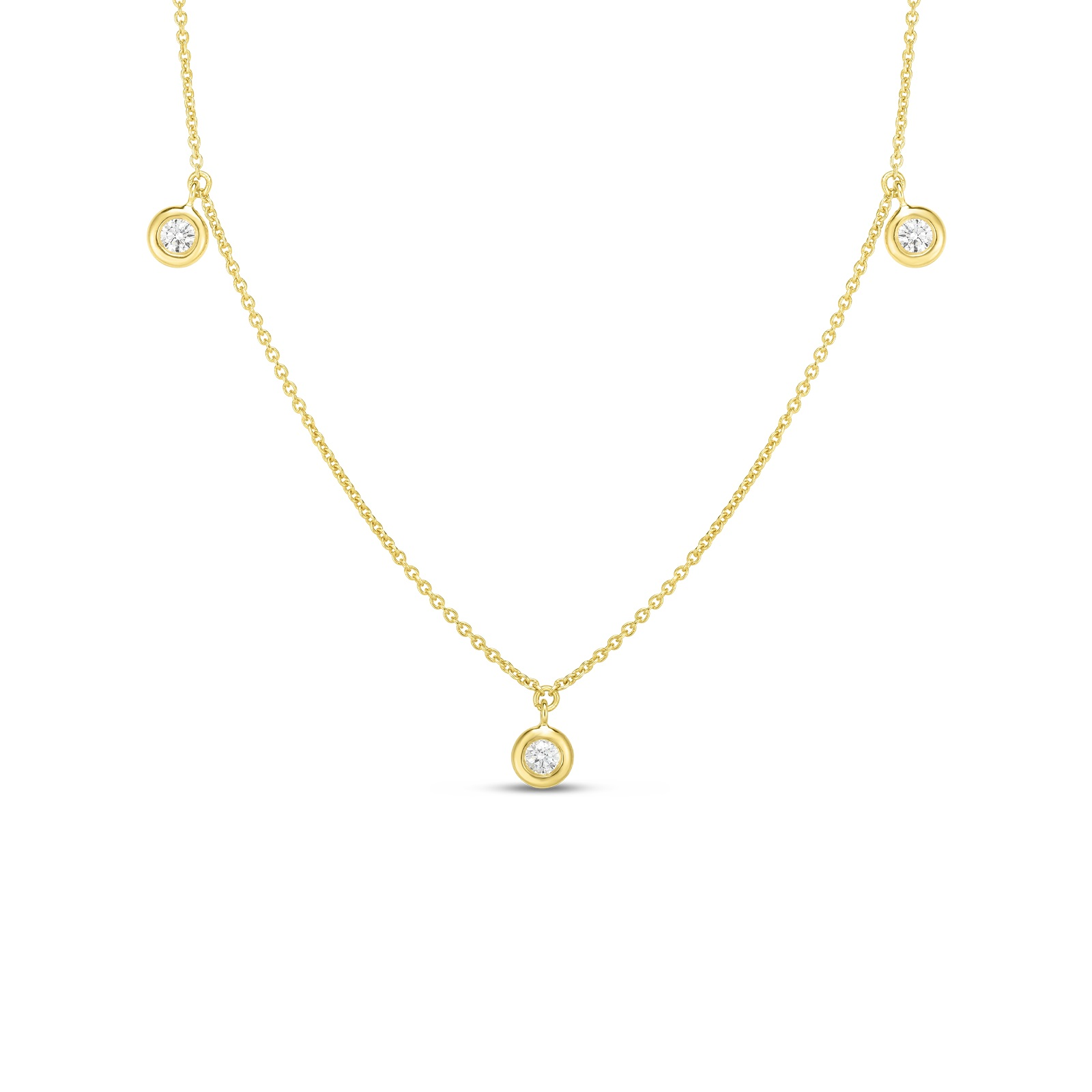 Roberto Coin 18K Yellow Gold .13cts  Diamond Gold Necklace with Stones 530010AYCHX0