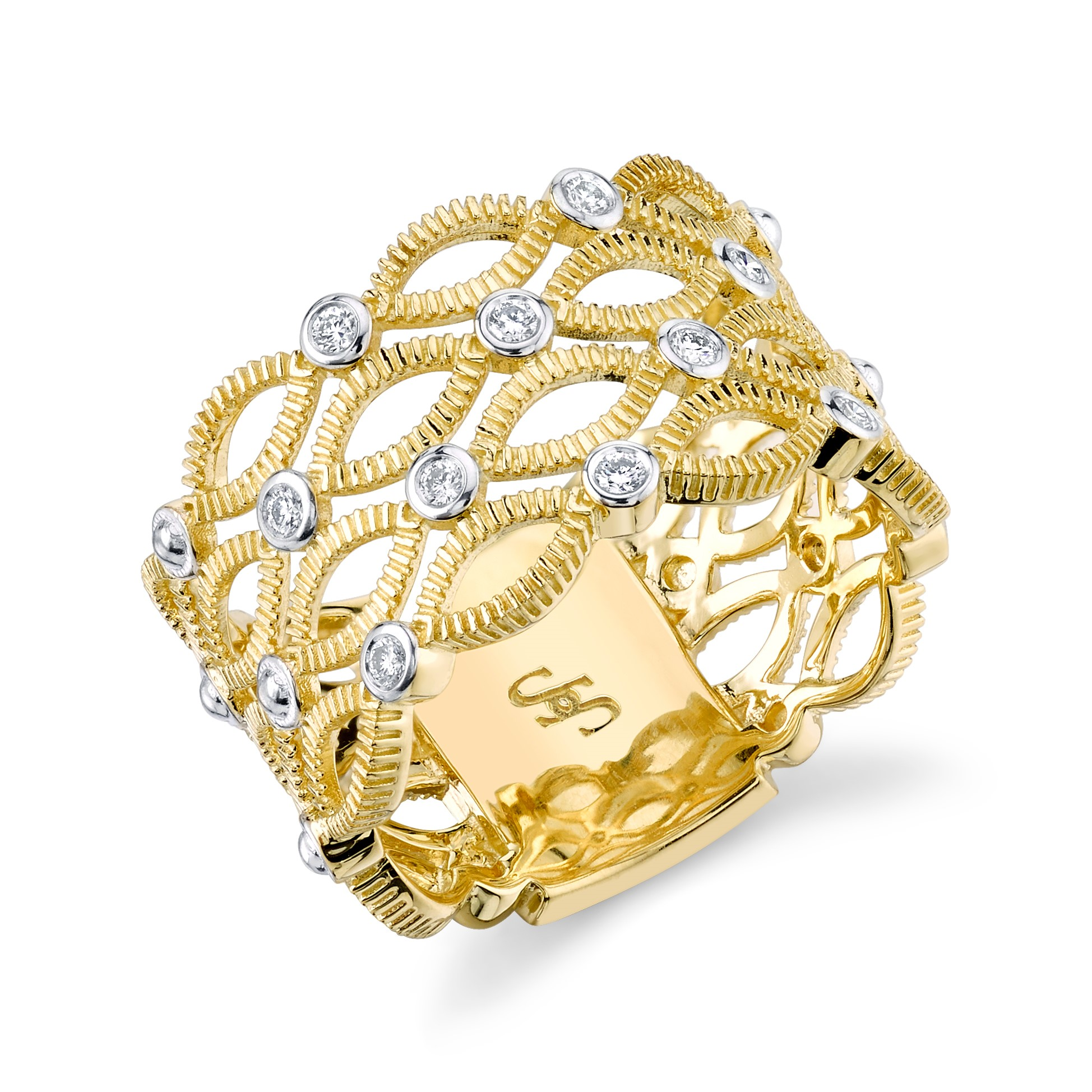 Sloane Street 18K Yellow Gold .15cts  Diamonds Gold Ring with Stones R005E-WDCB-Y