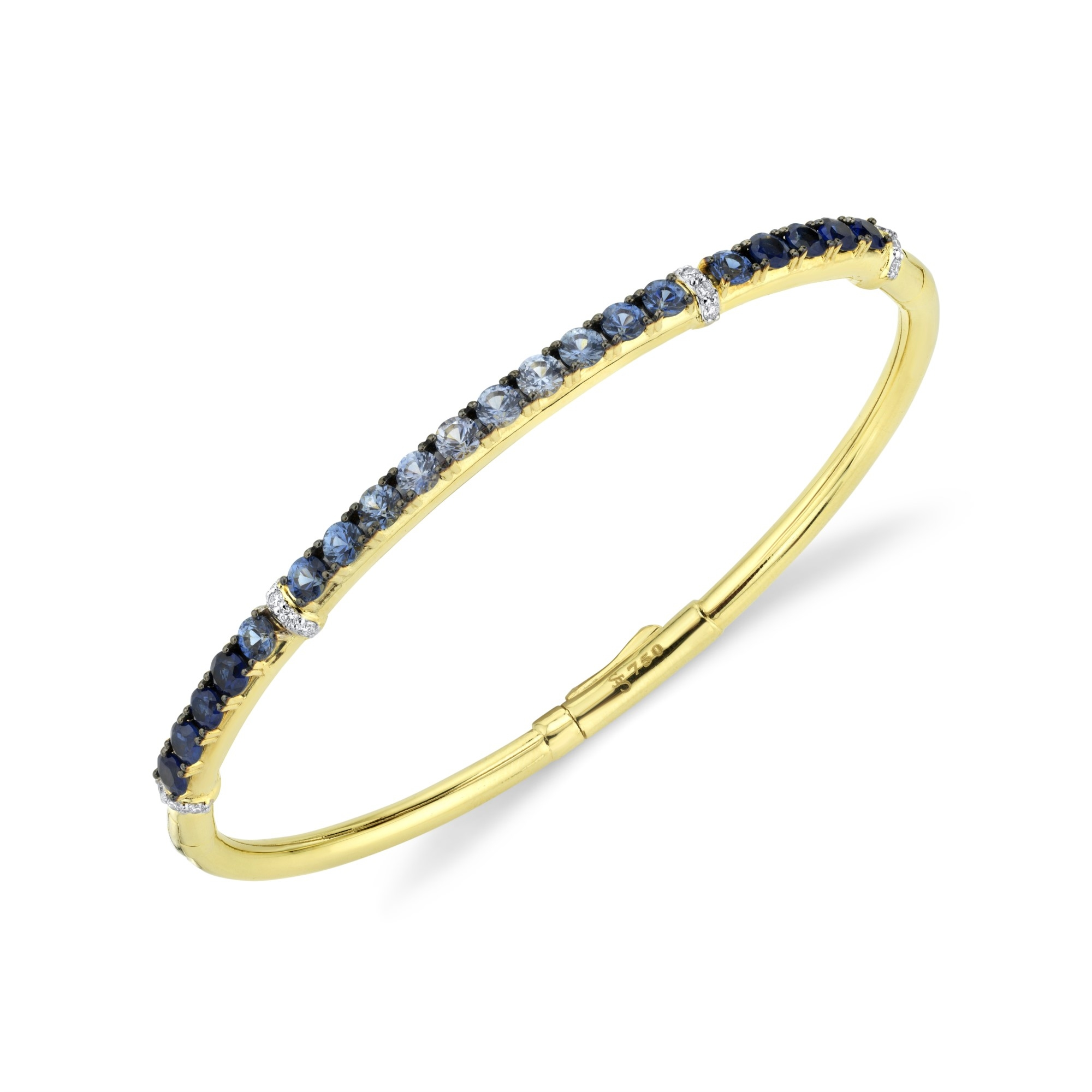 Sloane Street 18K Yellow Gold .16cts  Diamonds Gold Bangle with Stones B033E-GBSBR-A-WDCB-Y