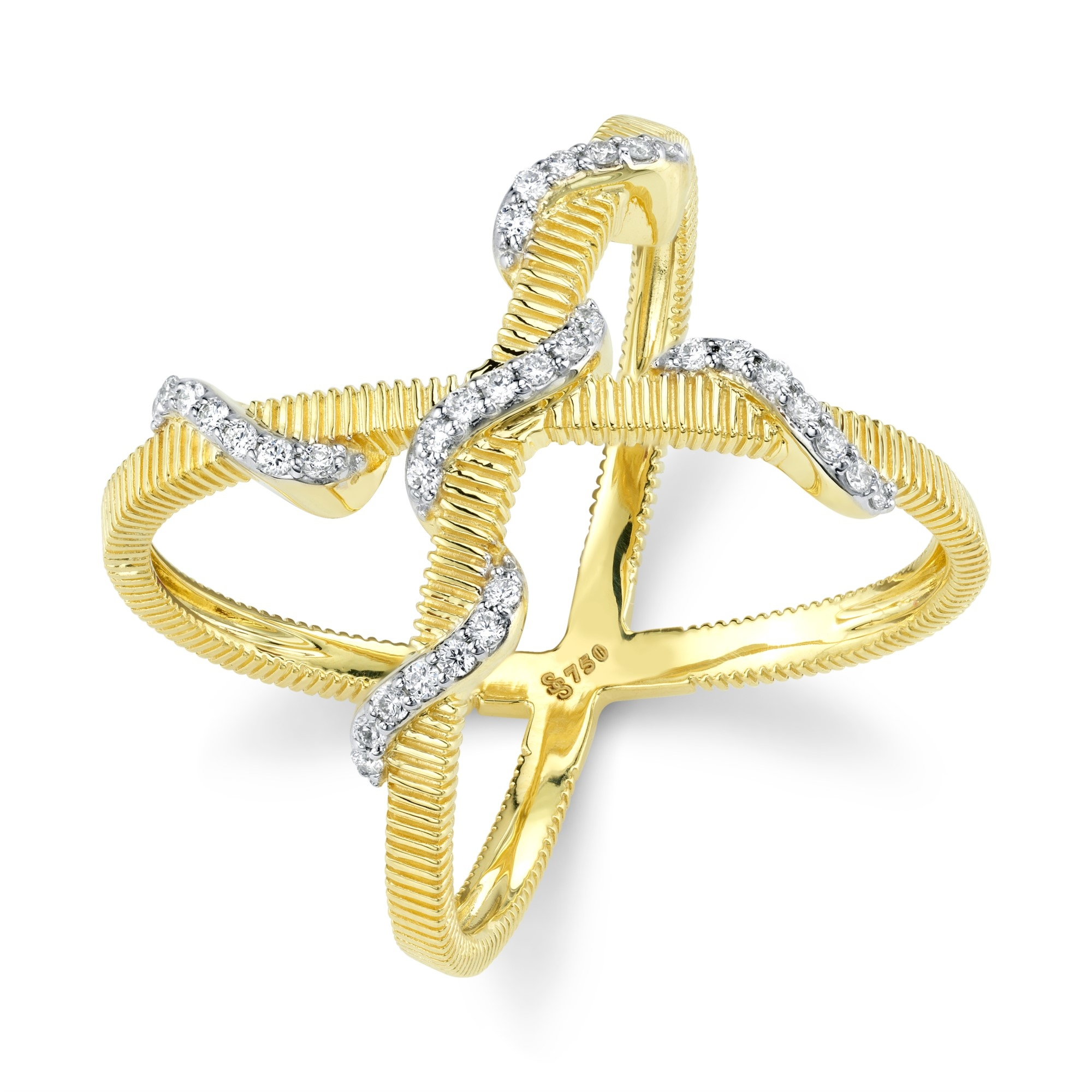 Sloane Street 18K Yellow Gold .17cts  Diamonds Gold Ring with Stones R008F-WDCB-Y
