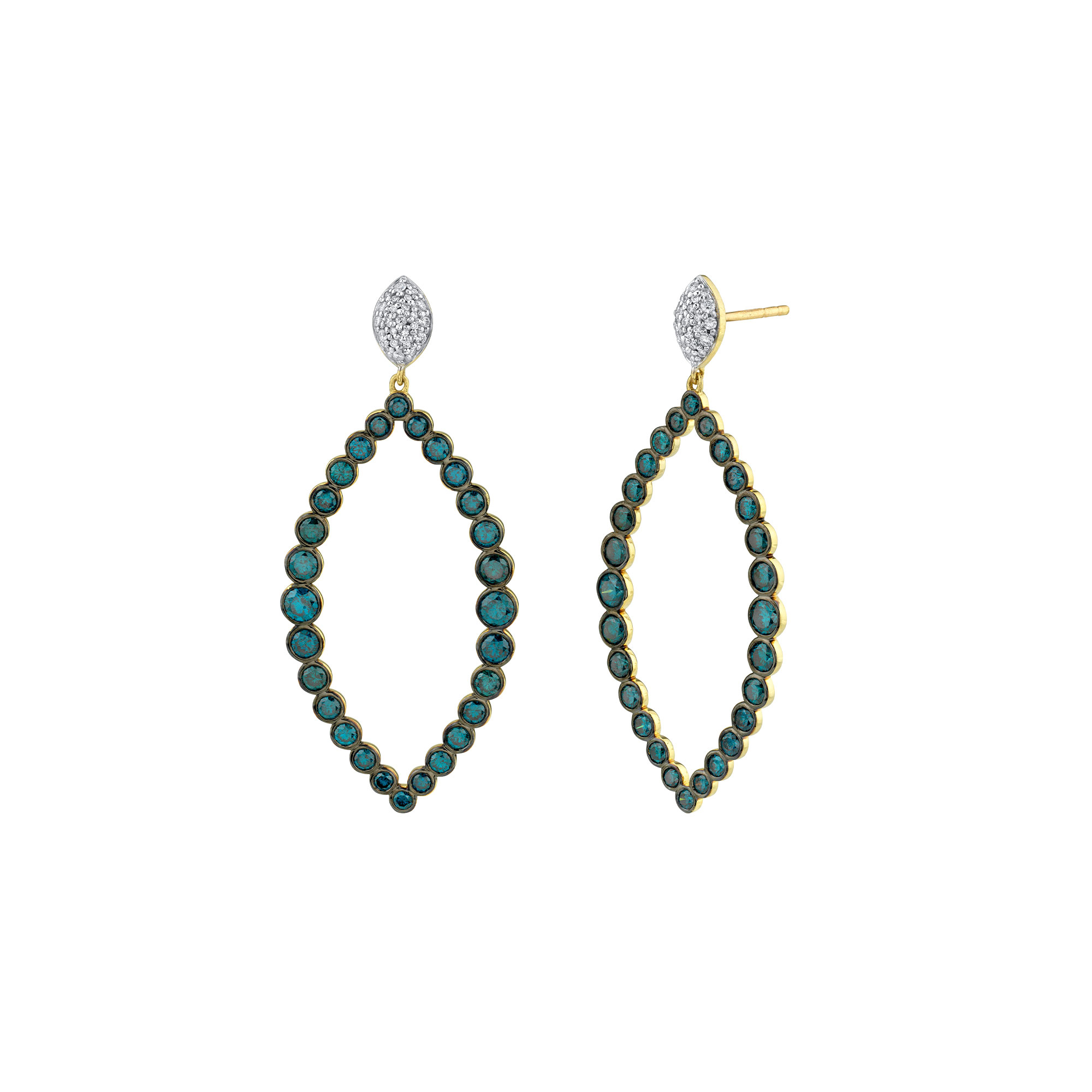 Sloane Street 18K Yellow Gold .20cts  Diamonds Gold Earrings with Stones E220T-BDBR-WDCB-Y