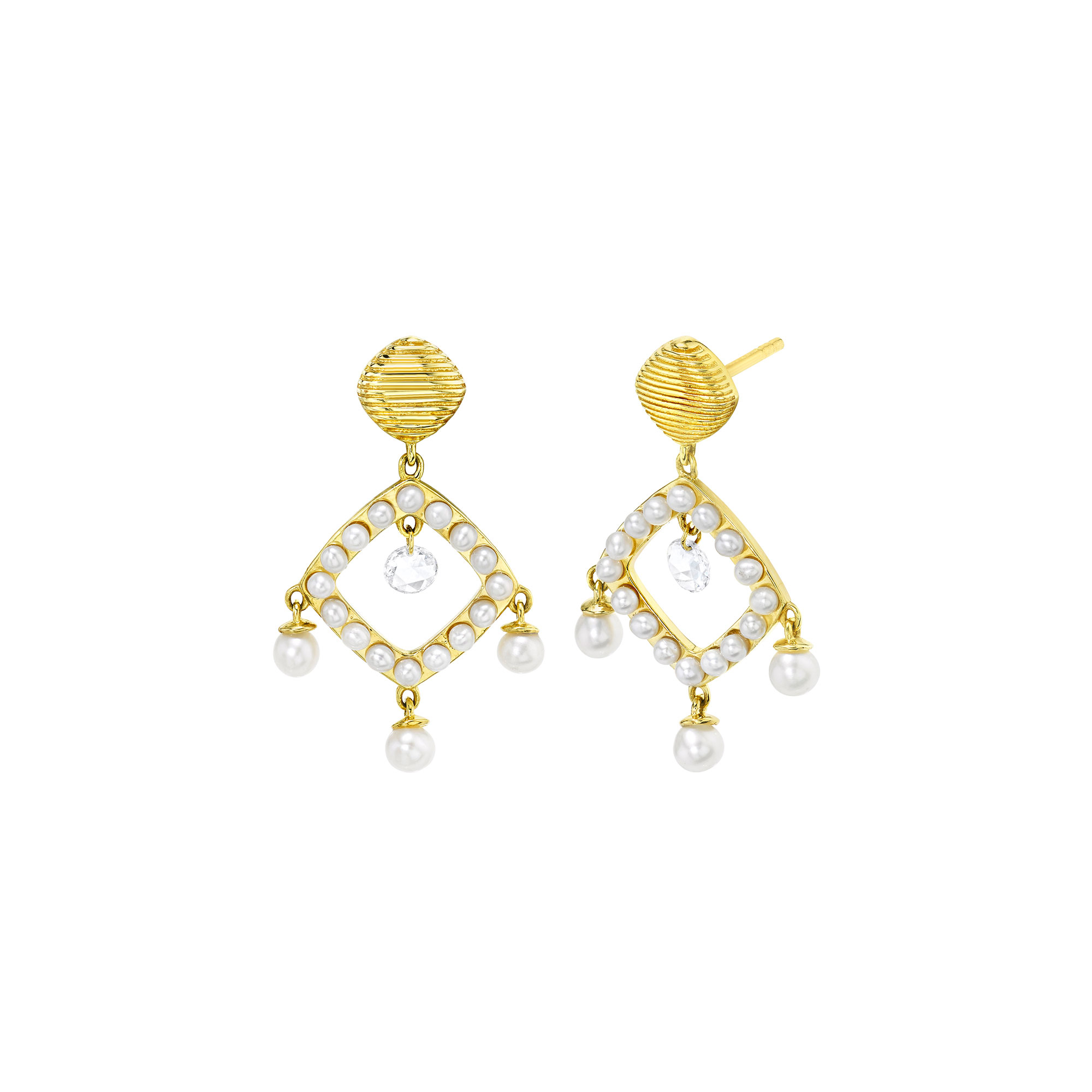 Sloane Street 18K Yellow Gold .22cts  Diamonds Gold Earrings with Stones E027F-WP-WD-Y