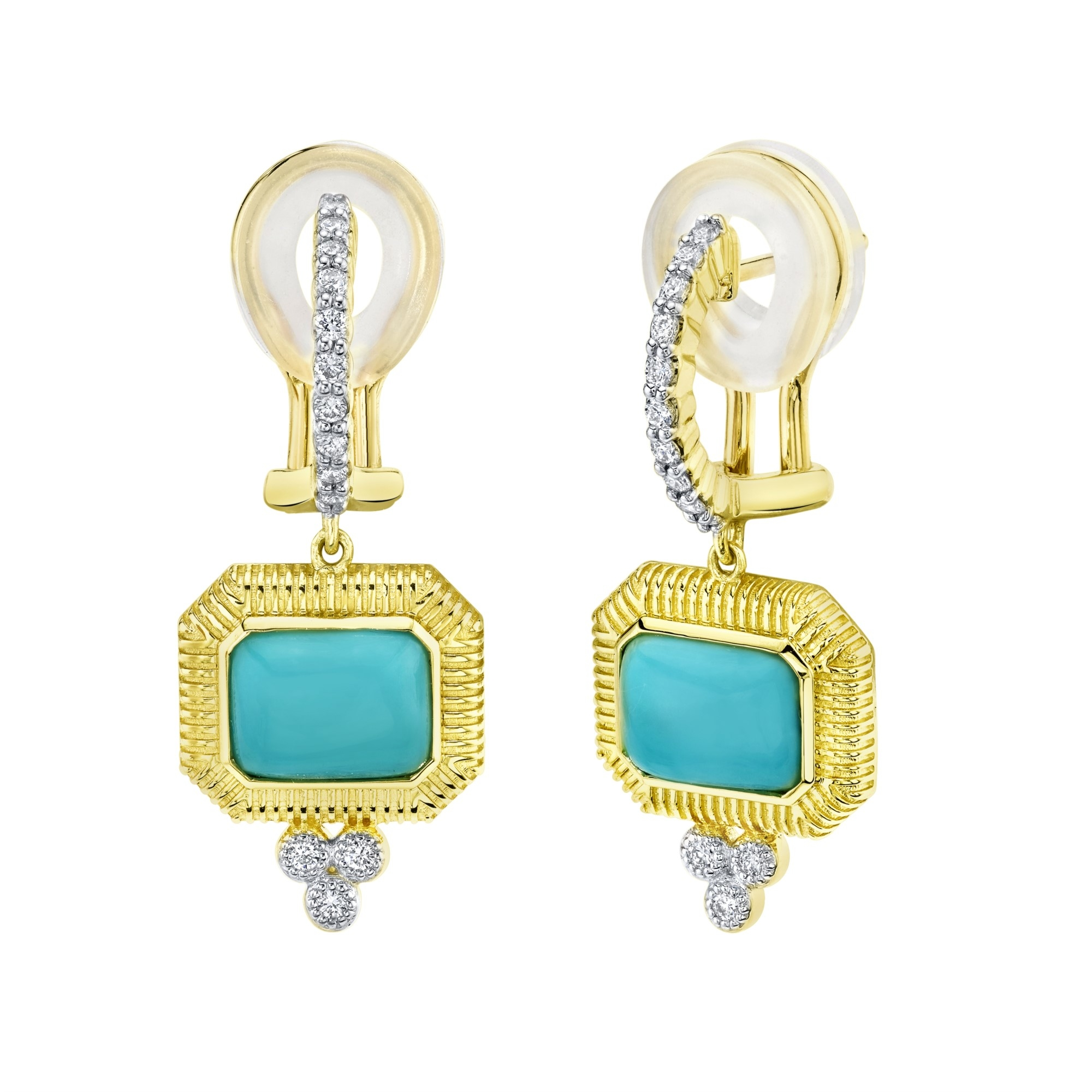 Sloane Street 18K Yellow Gold .26cts  Diamonds Gold Earrings with Stones E017F-TQ-WDCB-Y
