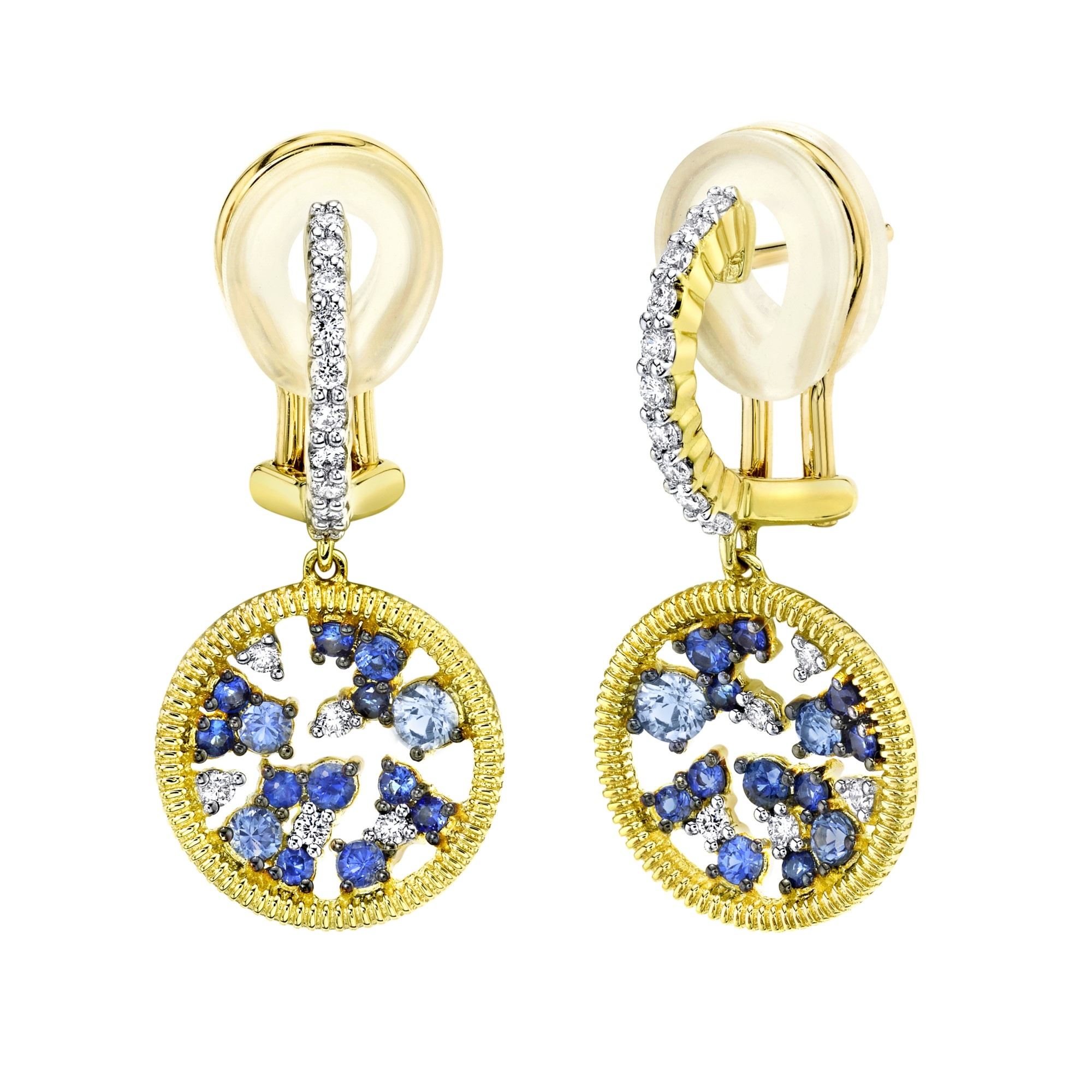 Sloane Street 18K Yellow Gold .30cts  Diamonds Gold Earrings with Stones E246T-GBSBR-WDCB-Y