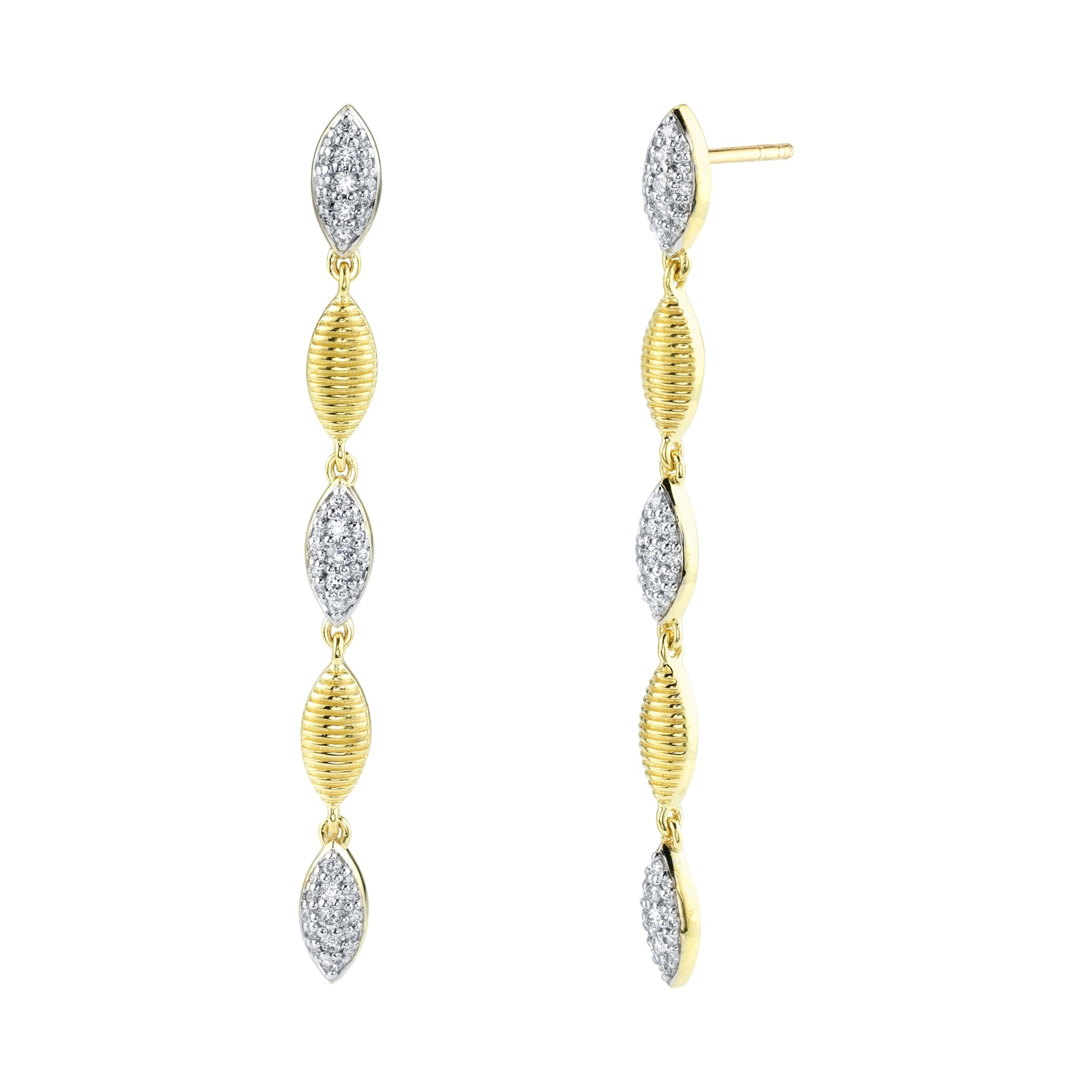 Sloane Street 18K Yellow Gold .37cts  Diamonds Gold Earrings with Stones E005F-WDCB-Y